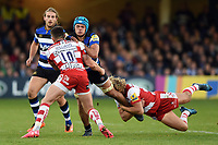 Zach Mercer of Bath Rugby takes on the Gloucester Rugby defence. Aviva Premiership match, between Bath Rugby and Gloucester Rugby on October 29, 2017 at the Recreation Ground in Bath, England. Photo by: Patrick Khachfe / Onside Images