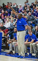 Lamont Frazier, Rogers head coach, reacts Friday, Feb. 7, 2020, vs Fayetteville at King Arena in Rogers. Go to nwaonline.com/prepbball/ to see more photos.<br /> (NWA Democrat-Gazette/Ben Goff)
