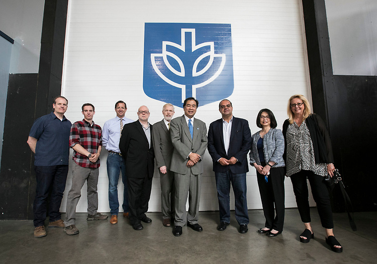 DePaul faculty and staff tour the university's studios and classroom facilities Tuesday, Aug. 1, 2017, at the Cinespace Chicago Film Studios.  (DePaul University/Jamie Moncrief)