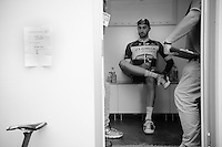 stage winner Guillaume Van Keirsbulck (BEL/OmegaPharma-Quickstep) awaits the doping control (with plenty of drinking bottles around) after the finish<br /> <br /> Eneco Tour 2014<br /> stage 7: Riemst (BEL) - Sittard-Geleen (NLD) <br /> 183km