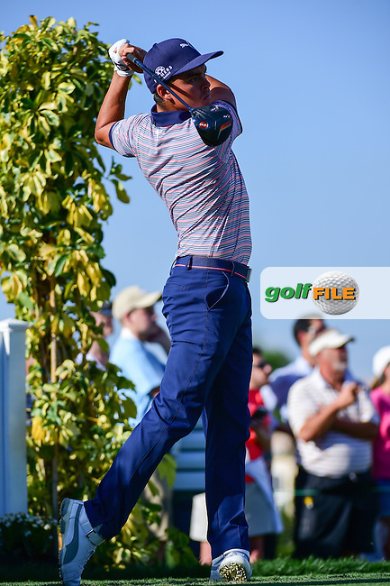 Rickie Fowler (USA) watches his tee shot on 13 during round 1 of the Honda Classic, PGA National, Palm Beach Gardens, West Palm Beach, Florida, USA. 2/23/2017.<br /> Picture: Golffile | Ken Murray<br /> <br /> <br /> All photo usage must carry mandatory copyright credit (&copy; Golffile | Ken Murray)