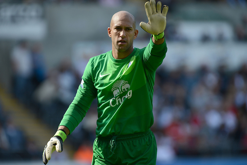 Everton's Tim Howard in action during todays match  ..Football - Barclays Premiership - Swansea City v Everton - Saturday 22nd September 2012 - Liberty Stadium - Swansea..