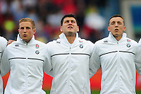 Lewis Boyce and other England U20 players sing the national anthem prior to the match. World Rugby U20 Championship match between England U20 and Scotland U20 on June 11, 2016 at the Manchester City Academy Stadium in Manchester, England. Photo by: Patrick Khachfe / Onside Images
