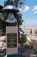 INDIA Tranquebar, in 18th century a former danish trading post in Tamil Nadu, memorial for Bartholomaeus Ziegenbalg (1682-1718), a german missionary who has translated the bible in tamil language and founded social projects like schools and children home  / INDIEN Tranquebar, war eine ehemalige daenische Handelsniederlassung im 18. Jh., Denkmal des deutschen Missionar Bartholomäus Ziegenbalg (1682-1718), der hier im Rahmen der daenisch-halleschen Mission wirkte, er uebersetzte u.a. die Bibel in tamilisch, gruendete Schulen und ein Waisenhaus