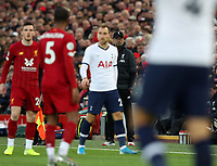 27th October 2019; Anfield, Liverpool, Merseyside, England; English Premier League Football, Liverpool versus Tottenham Hotspur; Liverpool manager Jurgen Klopp watches the action intently from the technical area - Strictly Editorial Use Only. No use with unauthorized audio, video, data, fixture lists, club/league logos or 'live' services. Online in-match use limited to 120 images, no video emulation. No use in betting, games or single club/league/player publications