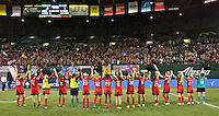 Portland, Oregon - Saturday July 2, 2016: The Thorns celebrate the 2-1 win over Sky Blue FC during a regular season National Women's Soccer League (NWSL) match at Providence Park.