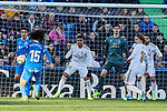Carlos Henrique Casemiro of Real Madrid and Marc Cucurella of Getafe FC during La Liga match between Getafe CF and Real Madrid at Coliseum Alfonso Perez in Getafe, Spain. January 04, 2020. (ALTERPHOTOS/A. Perez Meca)