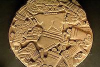 Circular stone depicting the dismembered Aztec goddess Coyolxauhqui, Museo del Templo Mayor, Mexico City