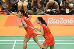 Ayaka Takahashi &amp; Misaki Matsutomo (JPN),<br /> AUGUST 15, 2016 - Badminton : <br /> Women's Doubles Quarter-final<br /> at Riocentro - Pavilion 3<br /> during the Rio 2016 Olympic Games in Rio de Janeiro, Brazil. <br /> (Photo by Koji Aoki/AFLO SPORT)