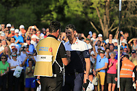 Justin Rose (ENG) and caddy Mark Fulcher after they win the playoff hole and the tournament and also moves back to No.1 in the world at the end of Sunday's Final Round of the 2018 Turkish Airlines Open hosted by Regnum Carya Golf &amp; Spa Resort, Antalya, Turkey. 4th November 2018.<br /> Picture: Eoin Clarke | Golffile<br /> <br /> <br /> All photos usage must carry mandatory copyright credit (&copy; Golffile | Eoin Clarke)