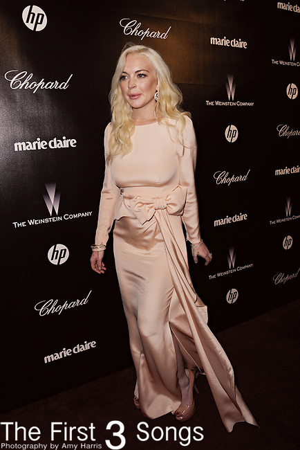 Lindsay Lohan attends the 2012 Weinstein Company Golden Globes After Party at The Beverly Hilton Hotel in Beverly Hills, CA on January 15, 2012.