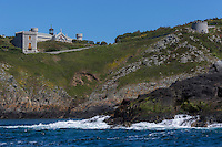 Royaume-Uni, îles Anglo-Normandes, île de Sark (Sercq): Île de Brecqhou: Brecqhou est une île privée, très surveillée et lechâteau des frères Barclay // United Kingdom, Channel Islands, Sark Island (Sercq): Brecqhou Island: The Barclay Brothers' recently-built mansion on Brecqho