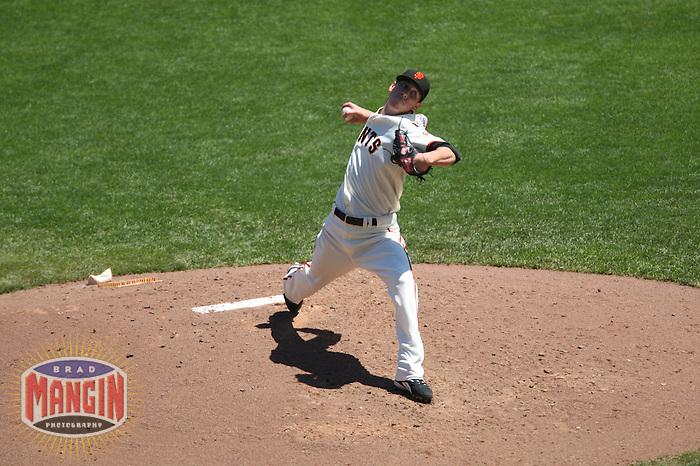 SAN FRANCISCO - August 11:  Tim Lincecum of the San Francisco Giants pitches during the game against the Pittsburgh Pirates at AT&T Park in San Francisco, California on August 11, 2007.  The Pirates defeated the Giants 13-3.  Photo by Brad Mangin