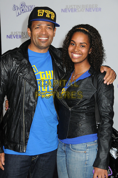 "MARIO VAN PEEBLES & GUEST.""Justin Bieber: Never Say Never"" Los Angeles Premiere held at Nokia Theater L.A. Live, Los Angeles, California, USA..February 8th, 2011.half length leather jacket arm over shoulder black blue yellow wtp baseball cap hat smiling soul patch facial hair .CAP/ADM/BP.©Byron Purvis/AdMedia/Capital Pictures."