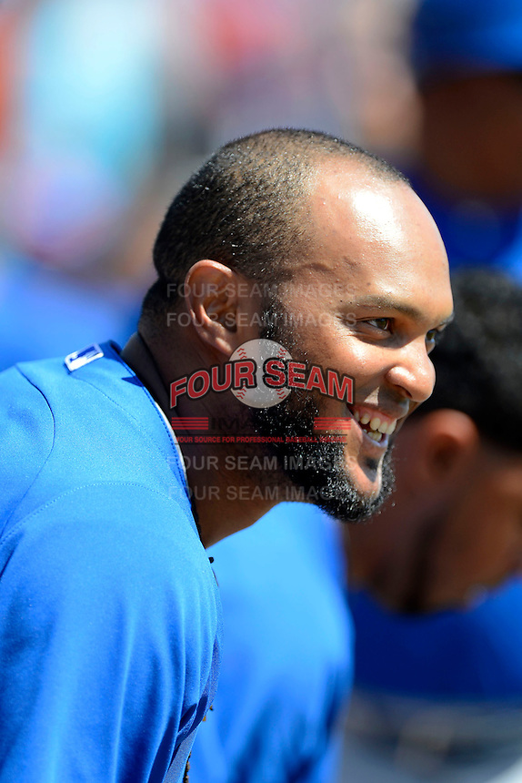 Toronto Blue Jays second baseman Emilio Bonifacio #1 before a Spring Training game against the Baltimore Orioles at Ed Smith Stadium on March 7, 2013 in Sarasota, Florida.  Balitmore defeated Toronto 11-10.  (Mike Janes/Four Seam Images)