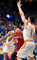 NWA Democrat-Gazette/CHARLIE KAIJO Arkansas Razorbacks forward Arlando Cook (5) dribbles past Tennessee Volunteers forward Grant Williams (2) during the Southeastern Conference Men's Basketball Tournament semifinals, Saturday, March 10, 2018 at Scottrade Center in St. Louis, Mo. The Tennessee Volunteers knocked off the Arkansas Razorbacks 84-66
