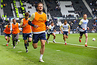 Leeds United players go through their warm ups<br /> <br /> Photographer Alex Dodd/CameraSport<br /> <br /> The EFL Sky Bet Championship Play-off  First Leg - Derby County v Leeds United - Thursday 9th May 2019 - Pride Park - Derby<br /> <br /> World Copyright © 2019 CameraSport. All rights reserved. 43 Linden Ave. Countesthorpe. Leicester. England. LE8 5PG - Tel: +44 (0) 116 277 4147 - admin@camerasport.com - www.camerasport.com