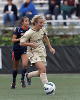 Boston College midfielder Kate McCarthy (21) on the attack. Pepperdine University defeated Boston College,1-0, at Soldiers Field Soccer Stadium, on September 29, 2012.