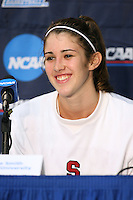 17 March 2007: Brooke Smith addresses the media at a press conference after Stanford's 96-58 win over Idaho State in the first round of the NCAA women's basketball tournament at Maples Pavilion in Stanford, CA.