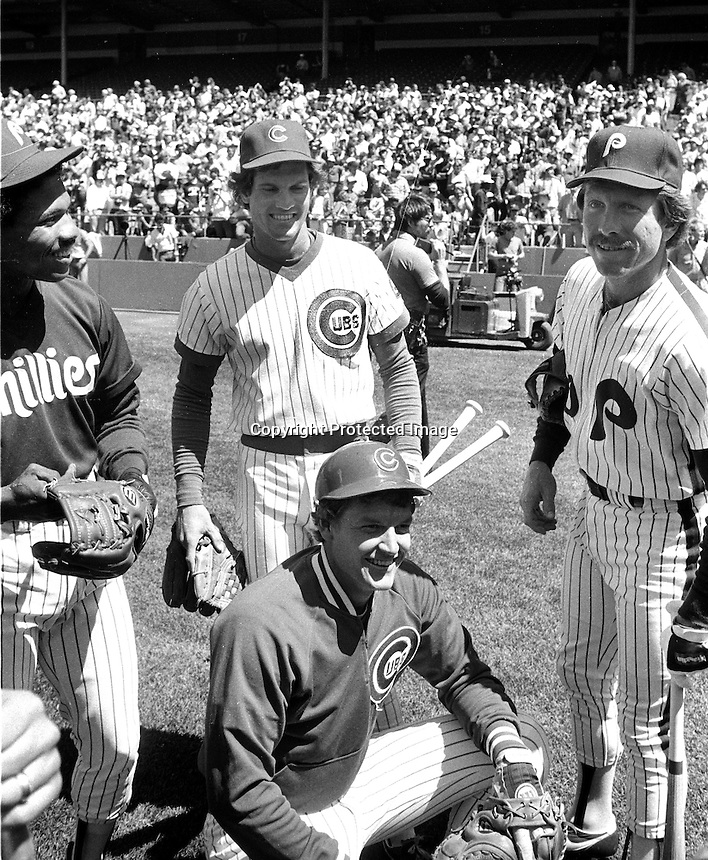 National League All-Stars, Al Holland, Ryne Sandberg, Jody Davis, and Mike Schmidt. at 1984 All-Star game in San Francisco. (photo/Ron Riesterer)