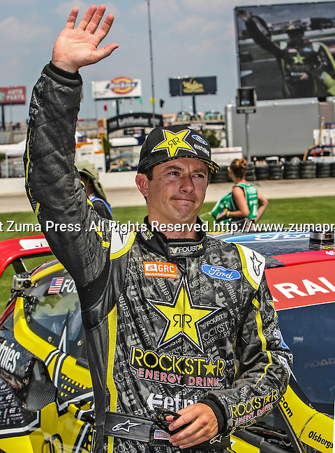 Tanner Foust (34) driver of the Rockstar Energy Etnies car, in action during the Global Rally Cross race, the Hoon Kaboom, at Texas Motor Speedway in Fort Worth,Texas. Global Rally Cross driver Marcos Gronholm (3) wins the Hoon Kaboom race..