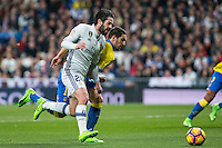 Isco Alarcon of Real Madrid competes for the ball  during the match of Spanish La Liga between Real Madrid and UD Las Palmas at  Santiago Bernabeu Stadium in Madrid, Spain. March 01, 2017. (ALTERPHOTOS / Rodrigo Jimenez) /NORTEPHOTOmex