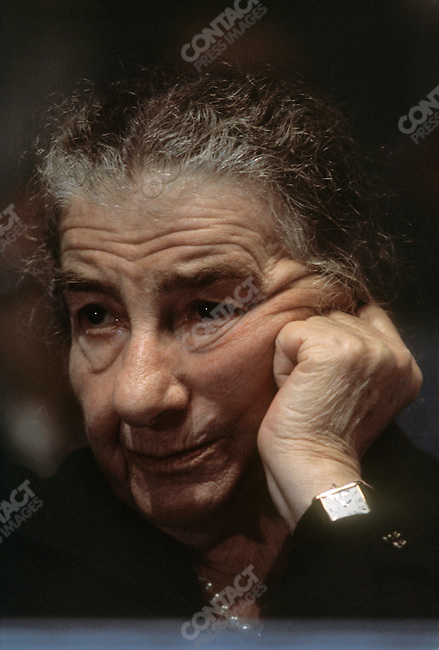 Golda Meir, former prime minister of Israel, at a Labor Party Congress opening press conference. Jerusalem, Israel, February 1977