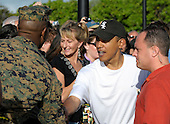 Kailua, Hawaii - December 31, 2008 -- United States President-elect Barack Obama greets well-wishers after his morning workout at Semper Fit Center gym in Marine Corps Base Hawaii at Kaneohe Bay in Kailua, Hawaii on Wednesday, December 31, 2008. Obama and his family arrived in his native Hawaii December 20 for the Christmas holiday..Credit: Joaquin Siopack - Pool via CNP