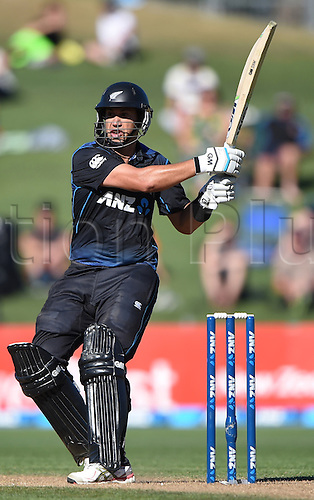 03.02.2015. Napier, New Zealand.  Ross Taylor batting during his century innings. ANZ One Day International Cricket Series. Match 2 between New Zealand Black Caps and Pakistan at McLean Park in Napier, New Zealand.