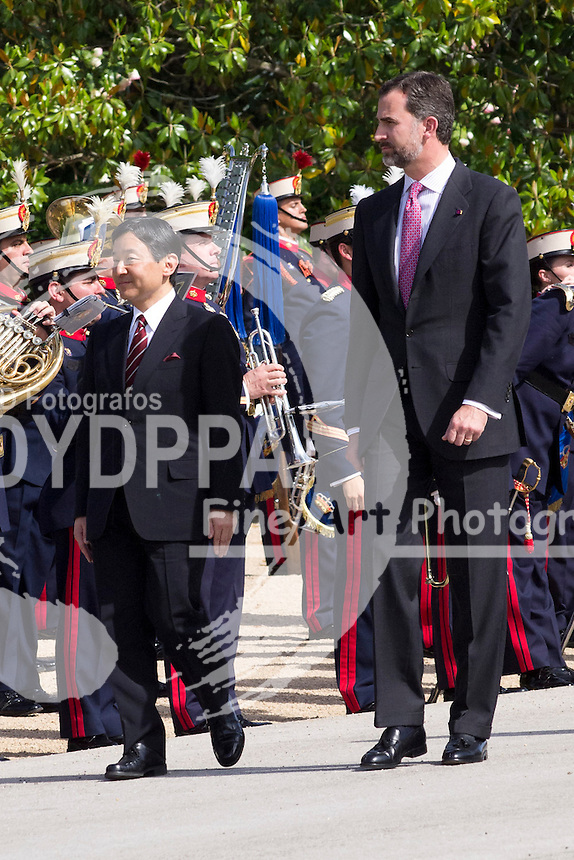 10.06.2013. El Pardo Palace. Madrid. Spain.  Prince Felipe of Spain receives His Imperial Highness Crown Prince Naruhito of Japan. In the image: Prince Felipe and Prince Naruhito. C) Ivan L. Naughty / DyD Fotografos//