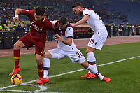 Lorenzo Pellegrini of AS Roma , Blerim Dzemaili and Mitchell Dijks of Bologna compete for the ball during the Serie A 2018/2019 football match between AS Roma and FC Bologna at stadio Olimpico, Roma, February 18, 2019 <br />  Foto Andrea Staccioli / Insidefoto