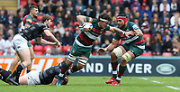 Leicester Tigers' Guy Thompson is tackled by Newcastle Falcons' Will Witty <br /> <br /> Photographer Stephen White/CameraSport<br /> <br /> Gallagher Premiership Round 2 - Leicester Tigers v Newcastle Falcons - Saturday September 8th 2018 - Welford Road - Leicester<br /> <br /> World Copyright &copy; 2018 CameraSport. All rights reserved. 43 Linden Ave. Countesthorpe. Leicester. England. LE8 5PG - Tel: +44 (0) 116 277 4147 - admin@camerasport.com - www.camerasport.com