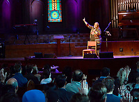 """Janelle Jessen/Siloam Sunday<br /> Alveda C. King, niece of Martin Luther King Jr., led John Brown University students in singing the hymn """"How Great Though Art,"""" during a chapel service on Thursday. King was the featured as the 2019 speaker for the Barnett Civic Leadership Series."""