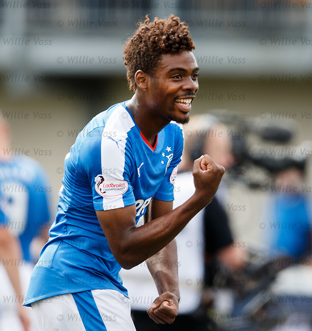 Nathan Oduwa celebrates to the rangers fans at full-time