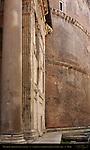 Pantheon exterior architectural detail Red Granite Column Vestibule marble facing Rotunda Campus Martius Rome