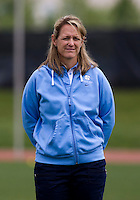 North Carolina head coach Jenny Levy looks over her team during the ACC women's lacrosse tournament finals in College Park, MD.  Maryland defeated North Carolina, 10-5.