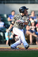 Arkansas Travelers outfielder Erik Komatsu (16) at bat during a game against the San Antonio Missions on May 25, 2014 at Dickey-Stephens Park in Little Rock, Arkansas.  Arkansas defeated San Antonio 3-1.  (Mike Janes/Four Seam Images)