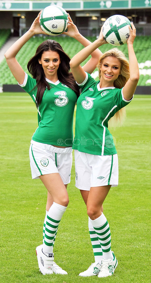 05/08/'10  Georgia Salpa and Sara Kavanagh pictured at the Aviva Stadium this morning for the announcement of a EUR 7.5 million deal over 4 years that mobile phone network, 3 will become the main sponsor of the Irish National Football team...Picture Colin Keegan, Collins, Dublin.