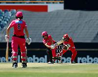 2nd November 2019; Western Australia Cricket Association Ground, Perth, Western Australia, Australia; Womens Big Bash League Cricket, Melbourne Renegades versus Sydney Sixers; Erin Burns of the Sydney Sixers plays down the leg side - Editorial Use