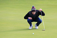 Liam Abom (Edmonstown) on the 12th green during Round 3 of the Ulster Boys Championship at Portrush Golf Club, Portrush, Co. Antrim on the Valley course on Thursday 1st Nov 2018.<br /> Picture:  Thos Caffrey / www.golffile.ie<br /> <br /> All photo usage must carry mandatory copyright credit (&copy; Golffile | Thos Caffrey)