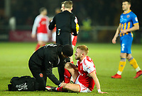 Fleetwood Town's Paddy Madden receives treatment in the first half<br /> <br /> Photographer Alex Dodd/CameraSport<br /> <br /> The EFL Sky Bet League One - Fleetwood Town v Shrewsbury Town - Tuesday 13th February 2018 - Highbury Stadium - Fleetwood<br /> <br /> World Copyright &copy; 2018 CameraSport. All rights reserved. 43 Linden Ave. Countesthorpe. Leicester. England. LE8 5PG - Tel: +44 (0) 116 277 4147 - admin@camerasport.com - www.camerasport.com
