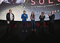 """LOS ANGELES - JUNE 3:  Alex Honnold, Chai Vasarhelyi, Jimmy Chin and Bob Eisenhard attend an FYC event for National Geographic's """"FREE SOLO"""" at the Cinerama Dome on June 3, 2019 in Los Angeles, California. (Photo by Scott Kirkland/National Geographic/PictureGroup)"""
