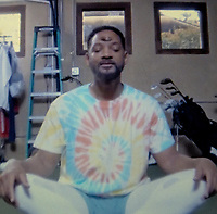 21st April 2020, United States of America; Will Smith tries yoga for the first time in his 'Will From Home' Snapchat series, advising his fans to Namastay at Home.