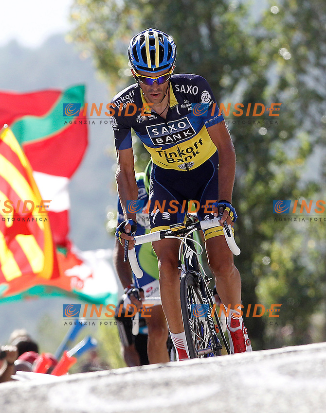 Alberto Contador arrives to the finish in fourth position of the stage of La Vuelta 2012 between Tarazona and Jaca.August 23,2012. (ALTERPHOTOS/Acero) .23/8/2012 Ciclismo - Vuelta.Foto Insidefoto