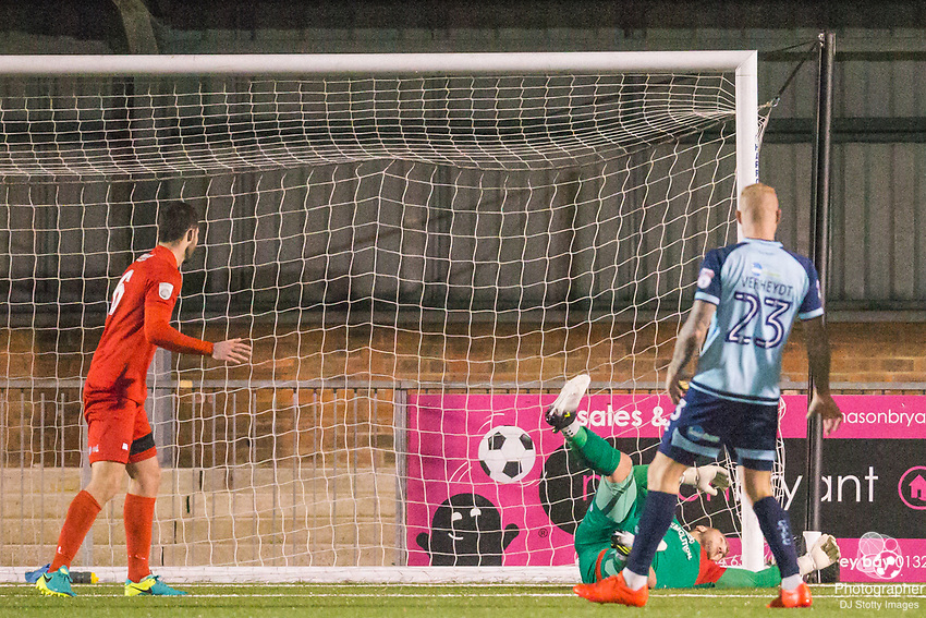 Mark Smith (GK) (Eastbourne) makes a save during Parafix Sussex Senior Cup Quarter Final between Eastbourne Borough FC & Crawley Town FC on Tuesday 09 January 2018 at Priory Lane. Photo by Jane Stokes (DJ Stotty Images)