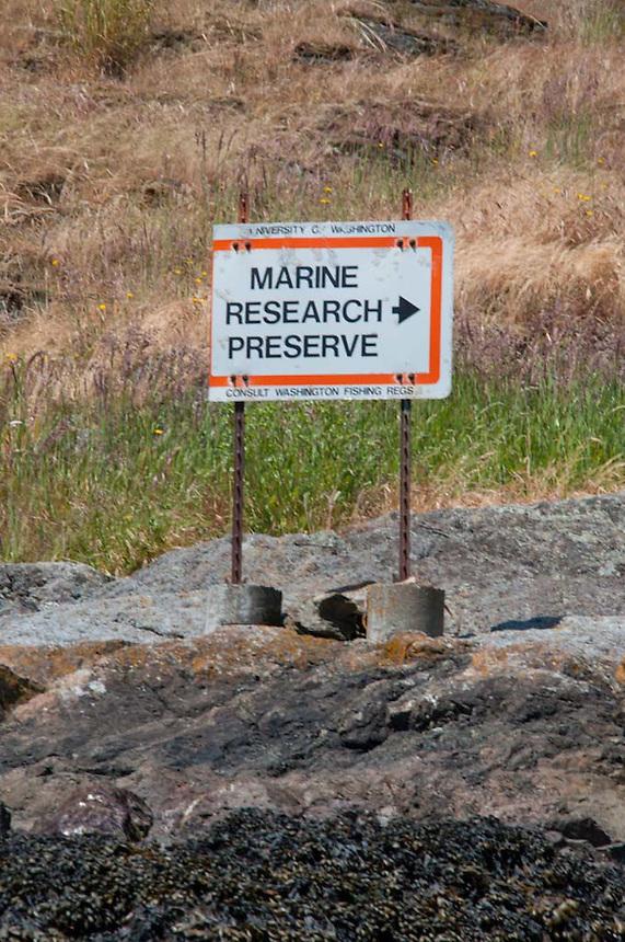Marine Research Preserve Sign at Friday Harbor Laboratories, Friday Harbor, San Juan Island, Washington, US