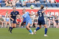 Bridgeview, IL - Sunday May 29, 2016: Chicago Red Stars forward Sofia Huerta (11) is sandwiched between Sky Blue FC defenders Kristin Grubka (13) and Christie Rampone (3) during a regular season National Women's Soccer League (NWSL) match at Toyota Park.