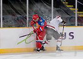 Dawson Creek, BC - Dec 7 2019: Game 1 - Russia vs Canada East at the 2019 World Junior A Championship at the ENCANA Event Centre in Dawson Creek, British Columbia, Canada. (Photo by Matthew Murnaghan/Hockey Canada)