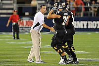1 September 2011:  FIU Head Football Coach Mario Cristobal fires up his players in the second half as the FIU Golden Panthers defeated the University of North Texas, 41-16, at University Park Stadium in Miami, Florida.