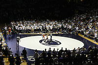 STATE COLLEGE, PA - FEBRUARY 16: Nico Megaludis of the Penn State Nittany Lions gets his hand raised by the referee after winning his 125 pound match against Eddie Klimara of the Oklahoma State Cowboys on February 16, 2014 at Rec Hall on the campus of Penn State University in State College, Pennsylvania. Penn State won 23-12. (Photo by Hunter Martin/Getty Images) *** Local Caption *** Nico Megaludis;Eddie Klimara